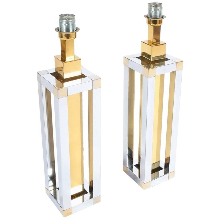 Pair of Chrome and Brass Table Lamps by Romeo Rega