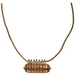 18-Karat Gold Indian Amulet Pendant Necklace