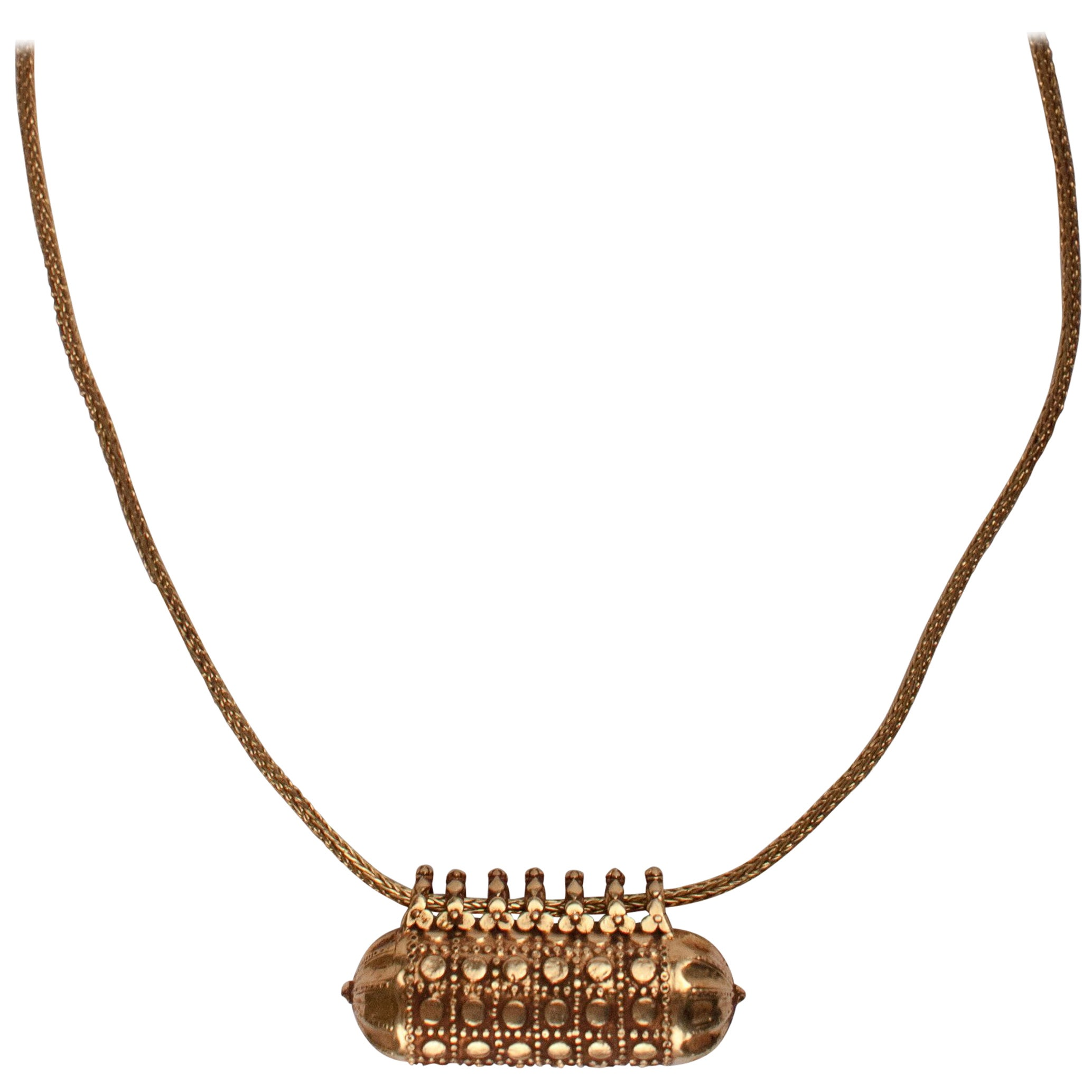 18-Karat Gold Indian Amulet Pendant Necklace