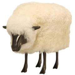 Old Plank Sheep with Its Head Down in the Style of Lalanne