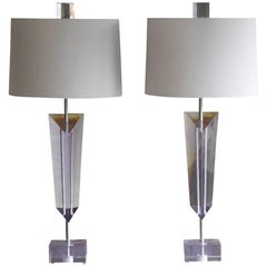 Pair of Large Light Purple Lucite Van Teal Lamps with New Linen Shades, Signed