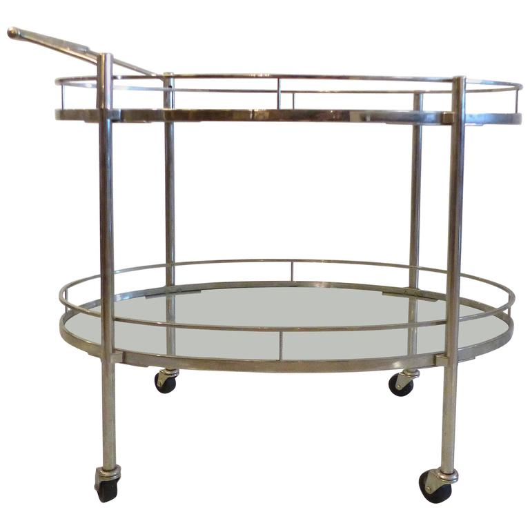 Mid Century Oval Polished Stainless Steel Tea Cart For