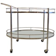 Mid-Century Oval Polished Stainless Steel Tea-Cart