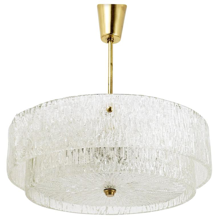 Kalmar Mid-Century Two Tiers Textured Glass Ring Chandelier, Austria, 1950s 1