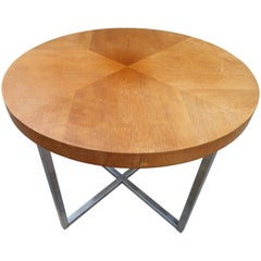 Lovely Milo Baughman Style Round Teak 'X' Chrome Base Side End Table