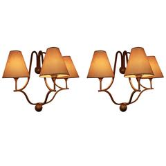 Jean Royere Pair of Jacques Sconces Gold Patina