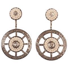 Diamond and Seed Pearl Dangle Earrings