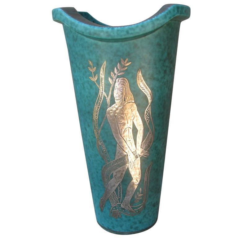 Gustavsberg Argenta Vase with Silver Overlay Nude Figure by Wilhelm Kage 1