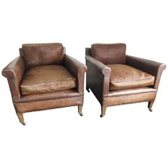 Fabulous Pair of French Vintage Leather Armchairs
