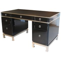 1970s Desk in Black Lacquer Designed by Guy Lefevre for Maison Jansen