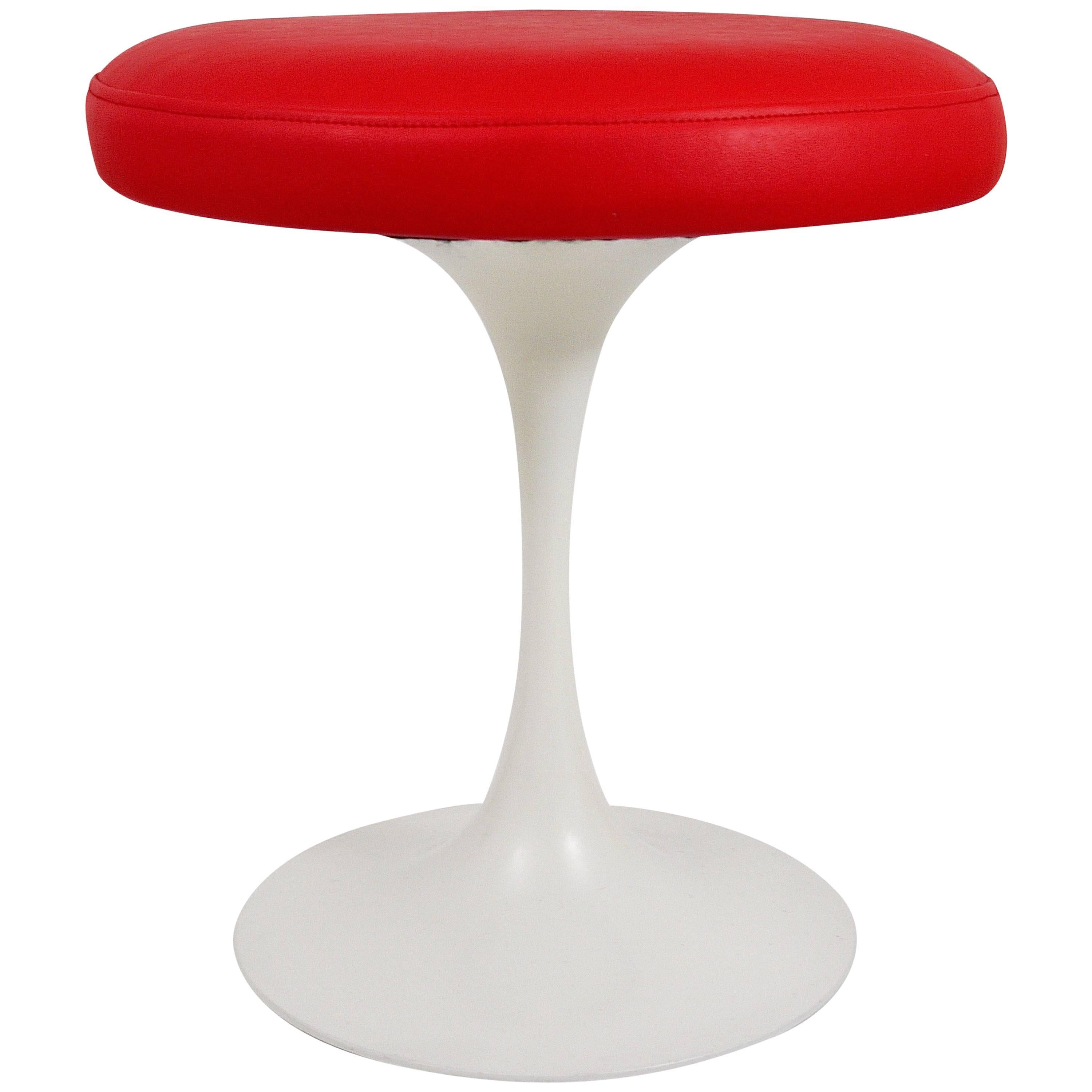 Maurice Burke Red and White Tulip Base Stool by Arkana, United Kingdom, 1960s