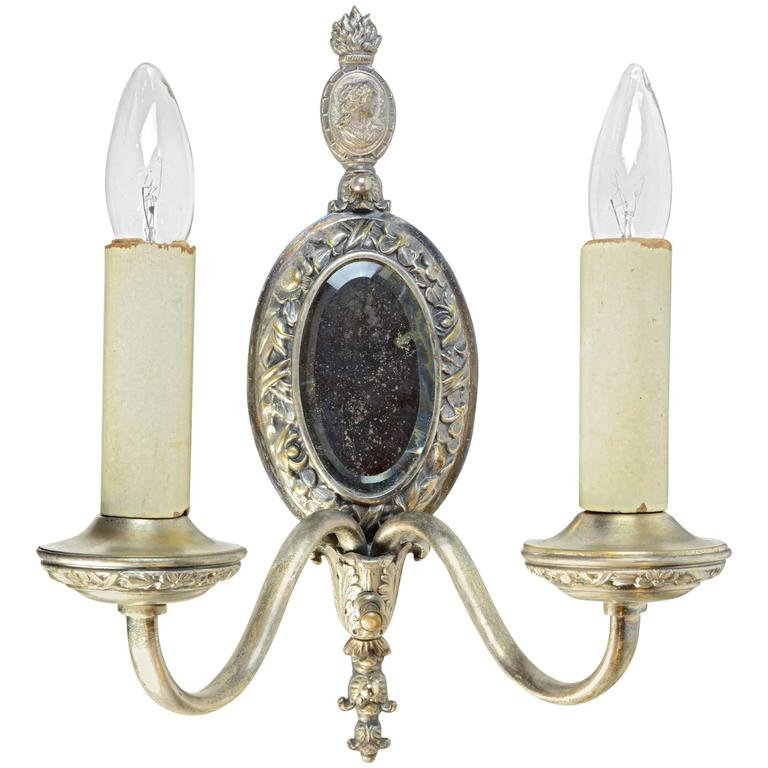 Two-Arm Silver Sconce with Mirror and Cameo