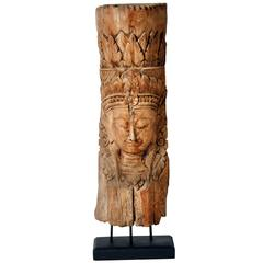 Hand-Carved Cambodian Statue