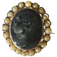 Blackamoor Cameo Pendant with Pearl Accents