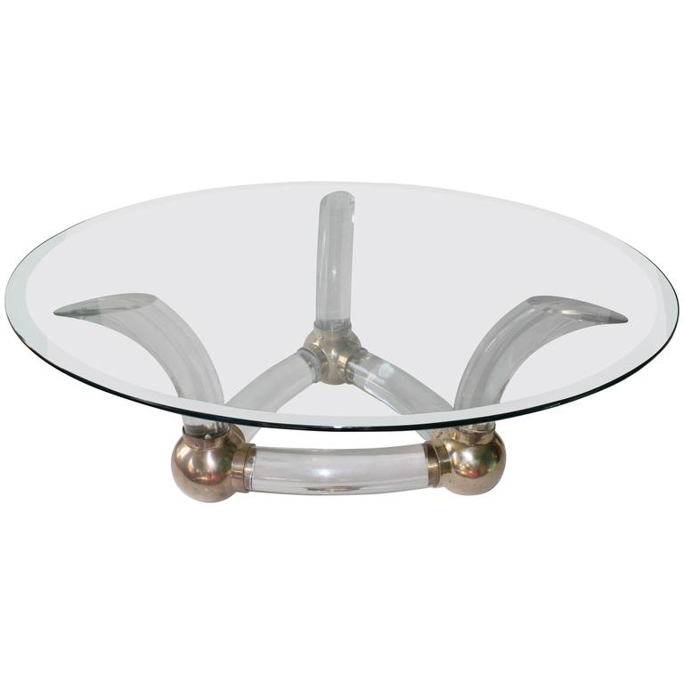 Mid-Century Modern Glass Top Coffee Table on Lucite Base with Brass Detail
