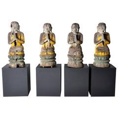 Teak Wood Burmese Monks