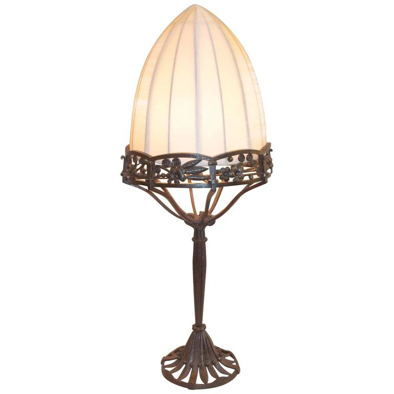 Raymond Subes Forged Iron Table Lamp