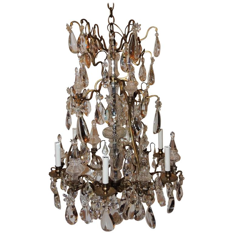 Fine French Dore Bronze Crystal Obilisk Six-Light Baccarat Chandelier Fixture