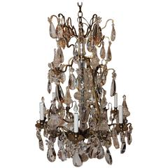 Fine French Dore Bronze Crystal Obilisk Six-Light Baccarat Chandelier Fixture