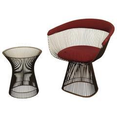 Warren Platner Original Bronze Side Chair and Matching Table