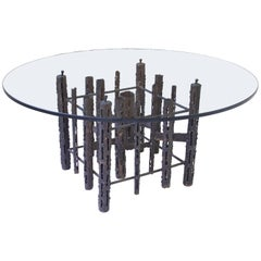 Brutalist Torch-Cut Iron Low Table with Circular Glass Top, 1970s