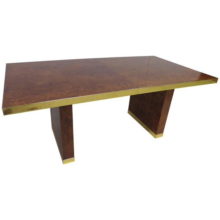 Spectacular Pierre Cardin Burled and Brass Dining Table Mid-Century Modern
