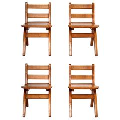Set of Four Slat Back Child Chairs in Wood