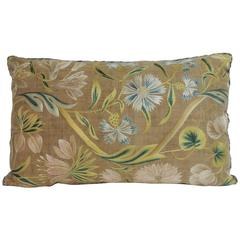 18th Century Italian Embroidery Floral Bolster Pillow
