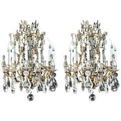 Pair of Fine Antique French Bagues Style Gilt Bronze & Rock Crystal Chandeliers