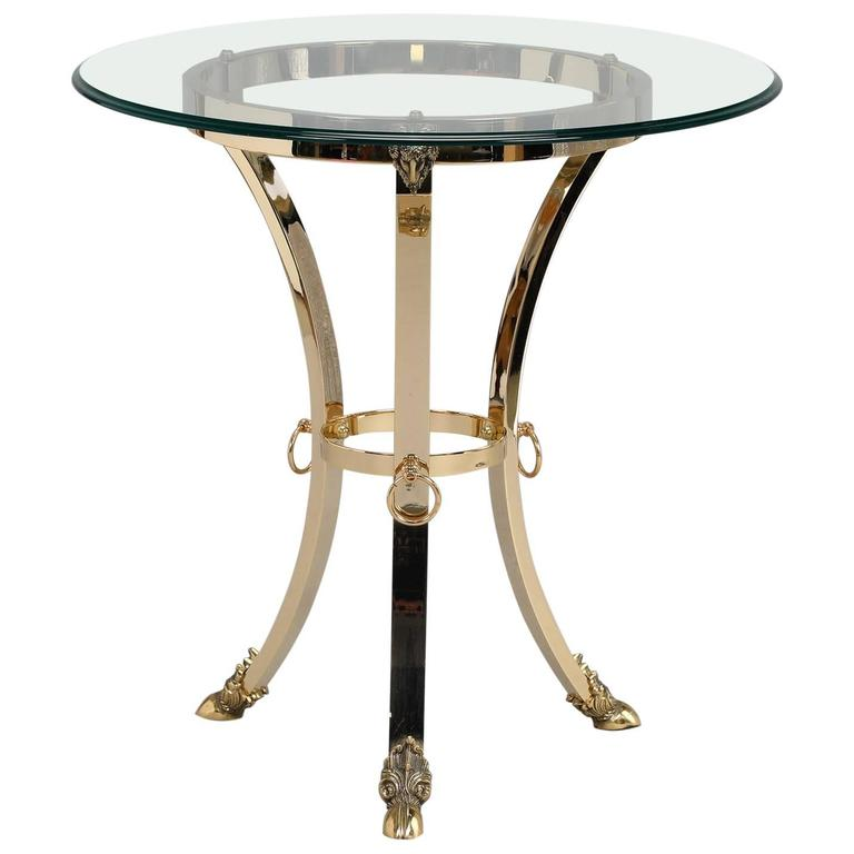 Mid-Century Spanish Neoclassical Brass Ram's Foot Side Table