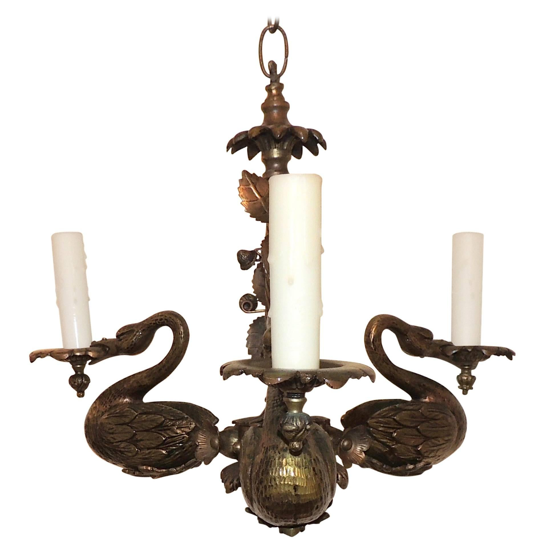 Wonderful French Empire Neoclassical Gilt Bronze Swan Regency Chandelier Fixture
