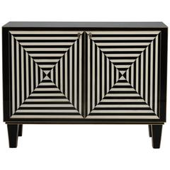Custom-Made Op Art Black and White Murano Glass Clad Cabinet