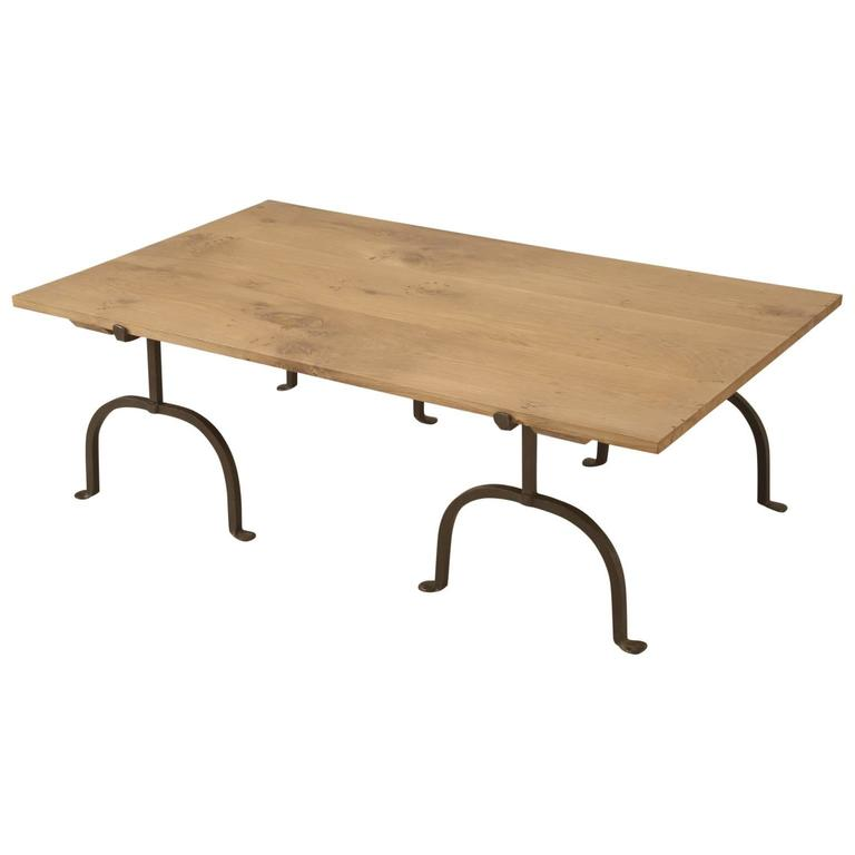 French oak and wrought iron coffee table for sale at 1stdibs for Wrought iron coffee table for sale