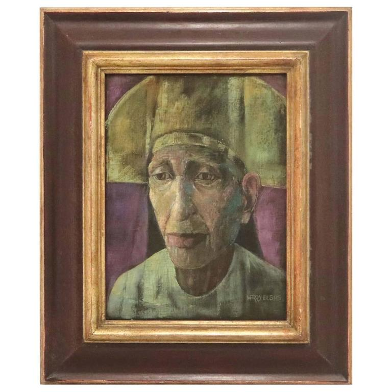 Harry Elsas, Male Portrait, Oil on Fabric over Masonite, Signed