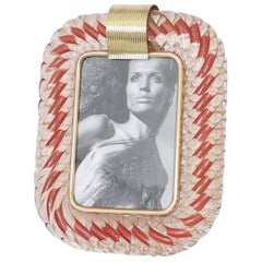 Venini 'Torciglione' Murano Glass Photo Frame with Gold Detail