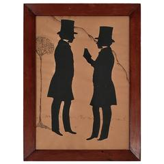 19th Century Double Portrait Silhouette of Two Young Men