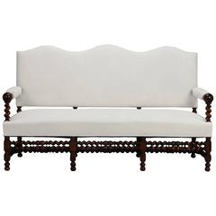 Large French Camel Back Settee with Barley Twist Frame