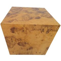 Wonderful Milo Baughman for Thayer Coggin Burl Wood Cube