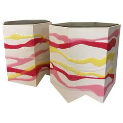 Pair of Custom Drip/Fold Side Tables in Ash, Resin and Leather