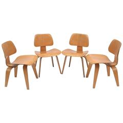 1940s Eames Evans Herman Miller Set of Four DCW Dining Chairs
