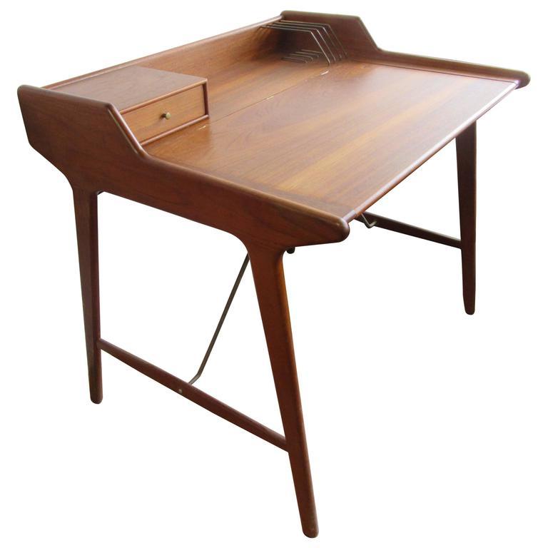 Wahl Iversen Attributed Flip Desk In Teak For Sale At 1stdibs