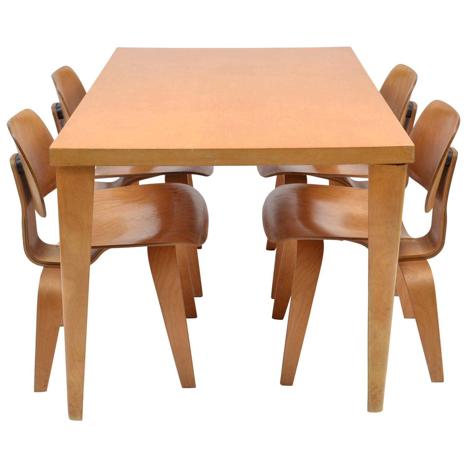 Charles Eames DTW 1 Table and DCW Chairs by Evans for Herman
