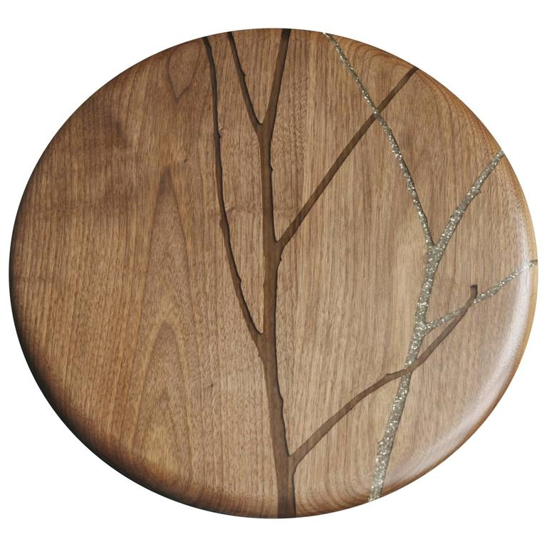 Hazy Floozan Centerpiece Turntable Tray in Walnut and Inlaid Resin - In Stock