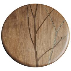Sparklebranch Hazy Floozan Centerpiece Turntable Tray in Walnut and Inlaid Resin
