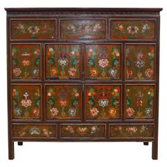 Tibetan Chest with Floral Motif