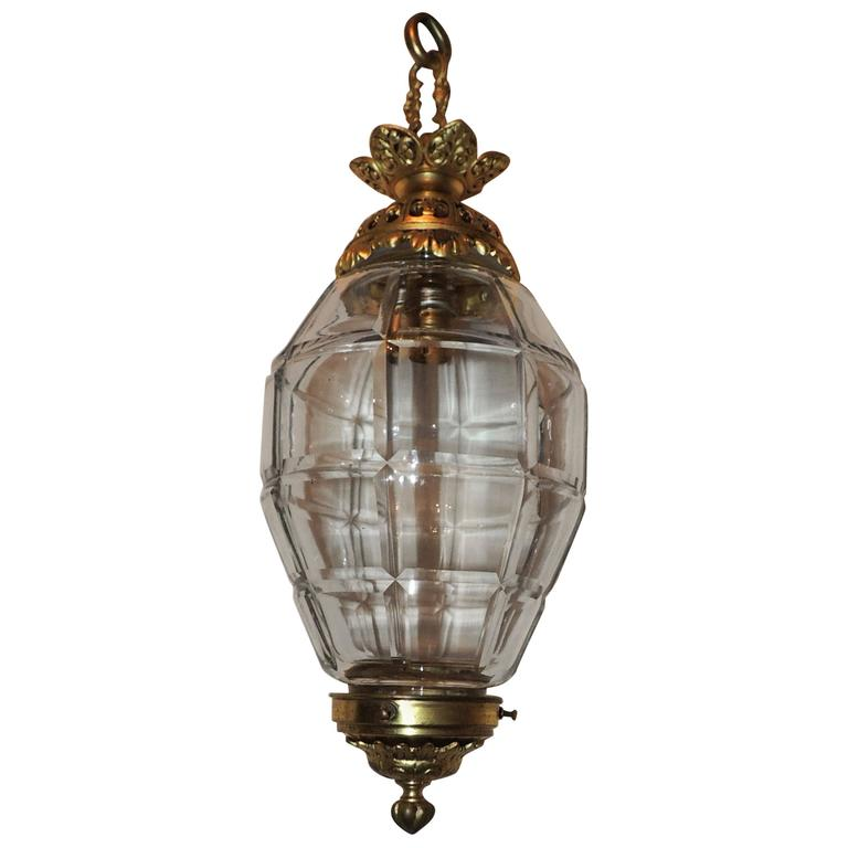 Wonderful Doré Bronze Beveled Glass Filigree Lantern Chandelier Pendent Fixture