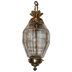Wonderful Doré Bronze Beveled Glass Filigree Lantern Chandelier Pendent Fixture