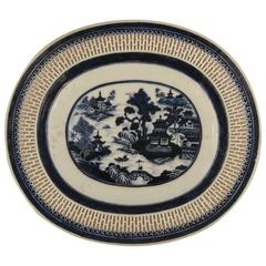 19th Century Canton Oval Platter with a Reticulated Border
