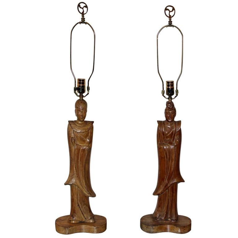 Pair of James Mont Style Oriental Figure Lamps For Sale