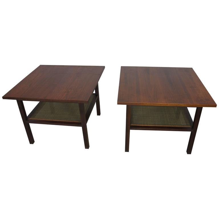 Pair of Mid-Century Modern Walnut Rosewood End Tables